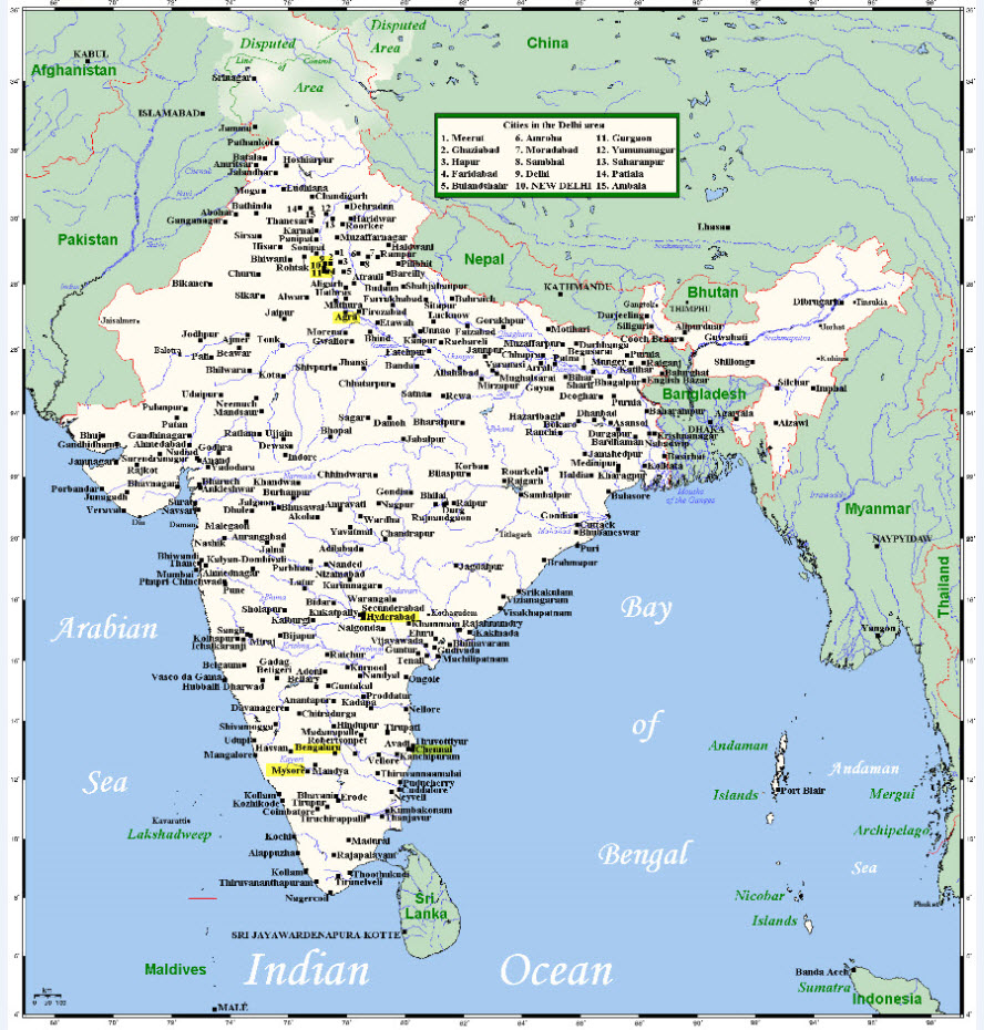 Mapa de India-Creative Commons